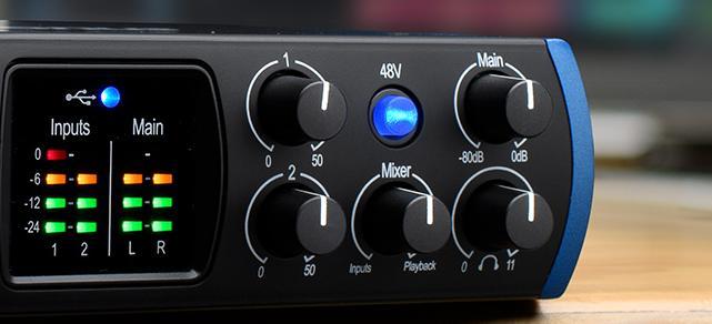 48V phantom power button for condenser microphones