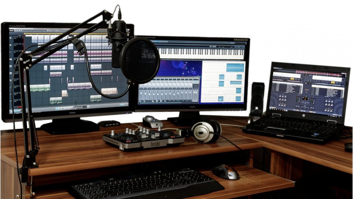 Home studio with multiple screens